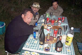 Happy hour no acampamento